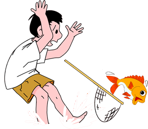 Fish escaping from boy