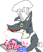 Wolf with cakes
